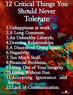 12 Things You Should Never Tolerate. Motivation for Change,