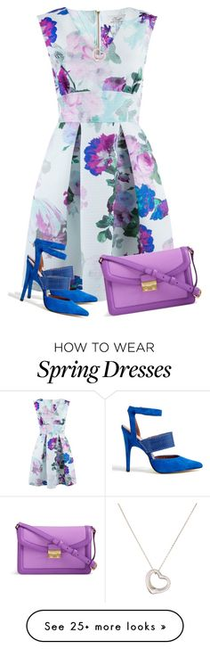 """Spring Dress"" by daiscat on Polyvore featuring Closet, Sigerson Morrison, Vera Bradley and Tiffany & Co."