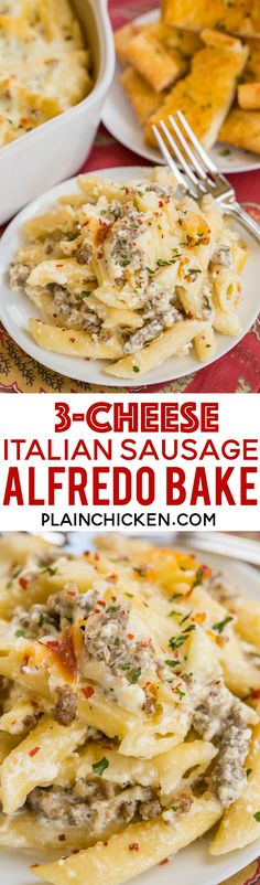Three Cheese Italian Sausage Alfredo Bake – great make-ahead pasta dish. Sausage Recipes, Pork Recipes, Pasta Recipes, Cooking Recipes, Dinner Recipes, Pasta Casserole, Casserole Dishes, Casserole Recipes, Italian Dishes