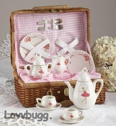 """Ballet Tea Set in Basket for 18"""" American Girl Doll Widest Selection Accessories"""