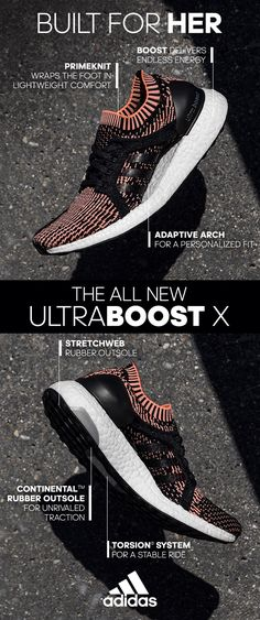 The all-new #UltraBOOSTX provides a supportive feel with a sock-like adaptive arch support, and flexible Primeknit upper designed just for her. Learn more now at adidas.com
