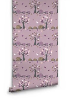 Garden Hedgehog Wallpaper in Purple by Muffin & Mani for Milton & King