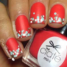 Red, Gold, Teal, and White Dotticure Nail Art.