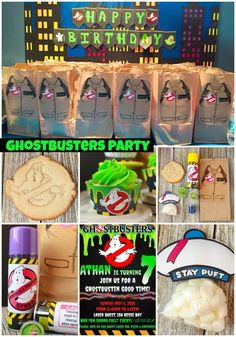 Ghostbusters Party Ideas including links to free printables favor ideas decorating ideas and more! Ghostbusters Party Ideas including links to free printables favor ideas decorating ideas and more! 4th Birthday Parties, 7th Birthday, Birthday Party Decorations, Birthday Ideas, Ghostbusters Birthday Party, Party Printables, Free Printables, Unique Gifts For Girls, Party Ideas