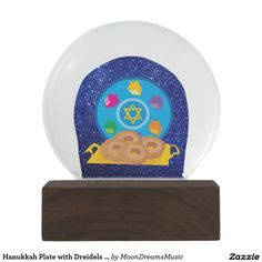 #HanukkahPlate with #Driedels #BlueFauxGlitter #SnowGlobe by #MoonDreamsMusic #HanukkahDecor