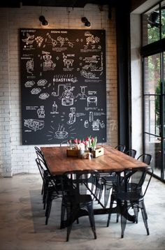 Perfection: blackboard, brick wall, concrete floors, huge window, rustic dining table