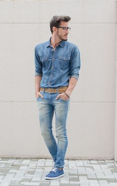 Shop this look on Lookastic:  http://lookastic.com/men/looks/blue-denim-shirt-tan-belt-light-blue-skinny-jeans-blue-derby-shoes/7037  — Blue Denim Shirt  — Tan Leather Belt  — Light Blue Skinny Jeans  — Blue Suede Derby Shoes
