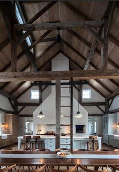 Vintage barn frame addition to Dutch stone house - rustic - kitchen - boston - KATE JOHNS AIA - Like the contrast in the ceiling wood and the beams. If you are going to expose beams, make sure you can see them. Style At Home, Casa Loft, Barndominium Floor Plans, Converted Barn, Barn Renovation, Barn Living, Living Room, Pole Barn Homes, Barn Style Homes