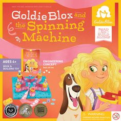 Educational and People's ChoiceToy of the Year Award Winner! A book series plus construction set starring Goldie, the girl inventor that builds spatial skills, engineering principles, and confidence in problem-solving.