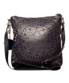 Loving this Black Floral Geometric Crossbody Bag on #zulily! #zulilyfinds
