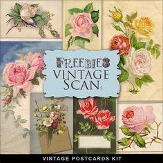 Freebies  Kit of Vintage Floral Postcards