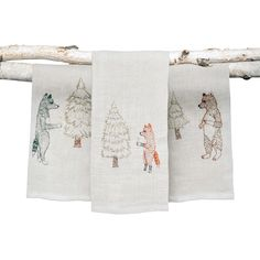Holiday-embroidered tea towels from Coral & Tusk. For more details, go to valerianne.com. #LuxeHoliday