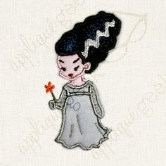 Bride of Frankenstein Applique Embroidery Design INSTANT DOWNLOAD for DIY projects, from Designed by Geeks. Use any embroidery machine - Brother, Viking, Janome, Bernina, Pfaff, Singer - to stitch this design.  This is an appliqué design of a cute monster bride, perfect for Halloween.
