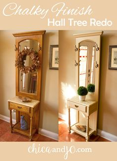 Chalk paint hall tree redo with @decoart Chalky Finish and @homerightps paint sprayer. #decoartprojects #chalkpaint