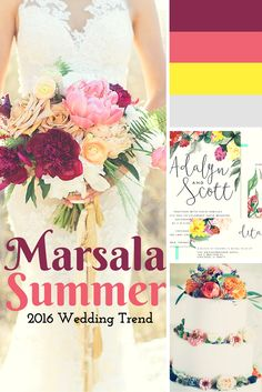 Wedding Color 2016: Marsala + Summer. The summer wedding invitations match perfectly.