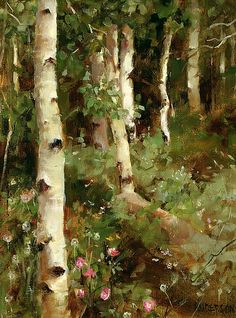 """""""Aspens and Mountain Roses"""" by Kathy Anderson, oil / Greenhouse Gallery of Fine Art"""