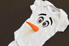 Frozen Olaf costume using a baby onesie