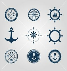 Set of nautical labels icons logo symbol vector by Bigsun on VectorStock®