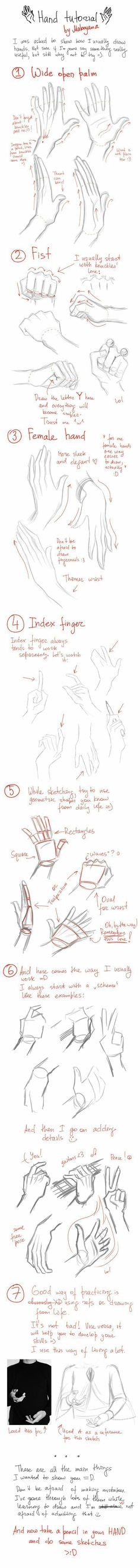 Hand Tutorial, text, hands; How to Draw Manga/Anime