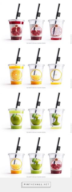 Very clever cups for each type of juice I like the way the juice colours the fruit