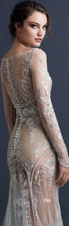 Paolo Sebastian 2015 COUTURE = This is SO beautiful but I'd have to have a slip under it, even if it was a nude slip.