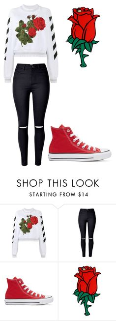 """""""Roses are red"""" by briebrie-diva on Polyvore featuring Off-White and Converse"""