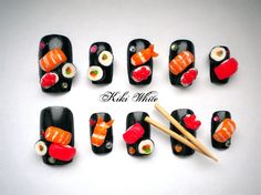 SUSHI NAILS! If you thought you were an ultimate sushi lover you have not yet had these nails! Take your love for sushi to the extreme with these cute miniature size pieces on your fingertips!