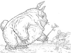 Shaolin Cowboy vs Totoro by Geof Darrow Comic Art