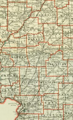 Aug. 21, 1863: After traveling 400 miles from Winchester, Tennessee, to St. Louis, James traveled another 200 miles from St. Louis, in the lower left corner of this map, to Washington, Illinois, in the northeastern corner of Tazewell County, to see Molly. Section from Helm, Charles J. State of Illinois map compiled from the Official Records of the State of Illinois, 1911. Missouri History Museum.