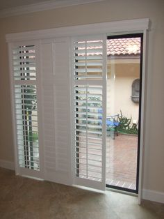 Cozy Sliding Shutters modernize your sliding glass patio door and are a great sliding patio door blinds House, Shutter Doors, Door Blinds, Door Treatments, Glass Doors Patio, Door Window Treatments, Sliding Shutters, Barn Doors Sliding, Door Coverings