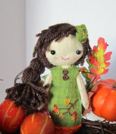 Cloth Doll Handmade All Natural Wool Autumn Colors by sewfaithful, $29.00