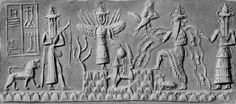 Cylinder seal impression.  A carved stone cylinder was rolled across a wet clay tablet to form an official, individualized seal. This one shows the winged goddess Inanna standing above the sun god Utu as he rises between the mountains. To the left of her is an unidentified hunter/warrior god. To the right is Enki, the god of the Abzu (the underground water table) surrounded by water and fish. Beside him is Isimud, his two-faced minister. The writing in the background identifies the seal as…