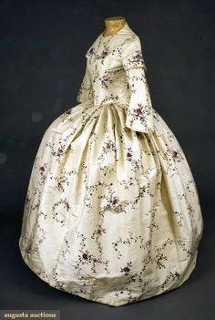 In the Swan's Shadow: PAINTED CREAM SILK GOWN, ENGLAND, c. 1850