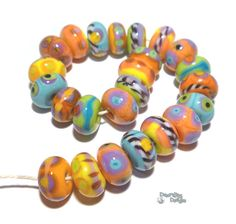 ALL THAT JAZZ Handmade Lampwork Beads - Coral Turquoise Blue Purple Yellow Green Black White - Organic Rounds -