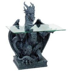 """Dragon Table with Glass, Black Resin 31""""H, 92257 BY ACK,List Price: $368.00   Price: $231.50"""