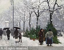 Paul Gustave Fischer (1860-1934): Juletræssalg på Frederiksberg Allé