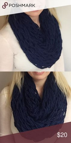 Handmade Navy Blue Infinity Scarf This is a handmade navy blue infinity scarf. I make these by hand and they are very warm/fashionable! I also make them per order so message me if you have a color preference :) Accessories Scarves & Wraps