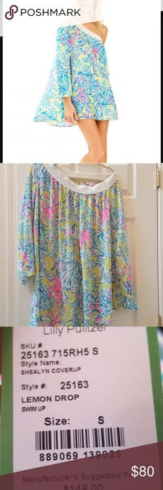 NWT Lilly Pultizer Shealyn Coverup/ Dress NWT Lilly Pultizer Shealyn Coverup/ Dress. Print Swimup. Color Lemon Drop. One shoulder. Runs Large. Very fun. Lilly Pulitzer Swim Coverups