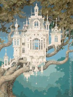 """""""High Altitude"""" (beautiful fantasy Victorian tree house) - Daniel Merriam ) -- Thank you, Andrea O'Meara, for the artist's name! (Is the tree made out of Steele or something, say if not fantasy? Fairy Land, Fairy Tales, Fantasy World, Fantasy Art, Fantasy House, Fantasy Castle, Fantasy Fiction, Fantasy Story, Fairy Houses"""