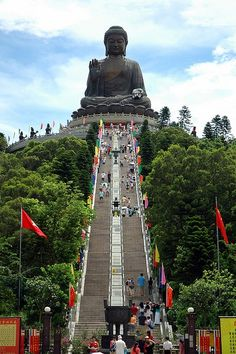 Tian Tan Buddha, also known as the Big Buddha, is a large bronze statue of a Buddha Amoghasiddhi, completed in 1993, and located at Ngong Ping, Lantau Island, in Hong Kong.