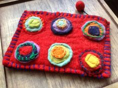 £7.00 Felt Purse, Red with Applique Circles - handmade using traditional felt-making techniques by Fair Trade artisans in Nepal.