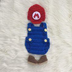 super mario bros baby photo prop crochet diaper cover set baby