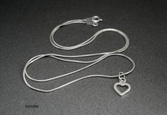 Sterling silver heart pendant necklace, Dainty silver heart necklace £19.00