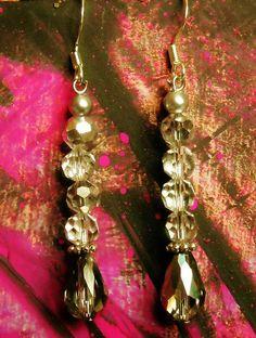 Beautiful silver crystal glass earrings elegant dangle earrings by AhrensGallery on Etsy