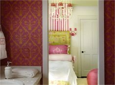 Beautiful pink and green girls bedroom