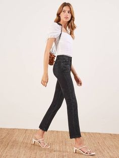 79c04460a54f Reformation s Black Julia High Jeans. New condition. Rigid Jeans. Cropped  straight leg.