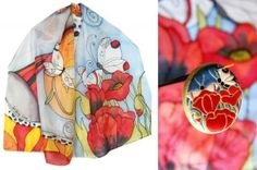 Poppy Fields Silk scarf and ceramic pendant by Golem Studio.  Isn't this lovely.
