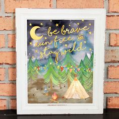 Woods Camping Artwork - Woodland Creatures Theme - Outdoor Quotes - Be Brave Run Free and Stay Wild - Watercolors - Quote for Boy - Wall Art  Be Brave Run Free and Stay Wild  A whimsical and inspirational print for your sons bedroom or playroom  Vibrant colors - White background with red, brown, green and yellow water color lettering Quality reproduction of my original artwork Printed on matte paper with highest level of archival-quality ink Copyright Liberty and Lilac Paper Co.  Note: This…