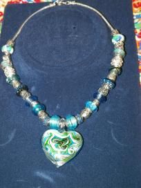 Blue & Silver Beaded Necklace w/Glass Heart Focal - $30.00 + s/h