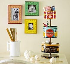DIY tiered stand made of vintage tins. Love!